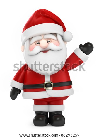 3D Render of Santa Claus Waving - stock photo