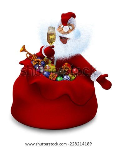 3d render of Santa Claus with a glass of champagne in a bag - stock photo