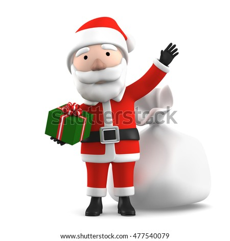 3D Render of Santa Claus with gifts, happy christmas icon, funny cartoon Christmas Grandpa, decorations for Christmas greetings card, web, advert. Kind model, symbol isolated on white background