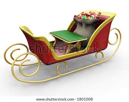 3D render of Santas sleigh with a sack of gifts - stock photo