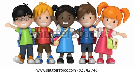 3D Render of School Kids - stock photo