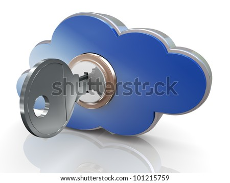 3d render of secure cloud computing concept - stock photo