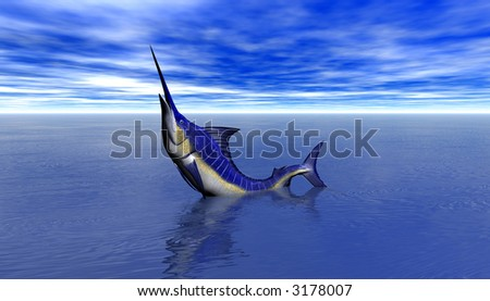 3D Render of Shark Attack - stock photo