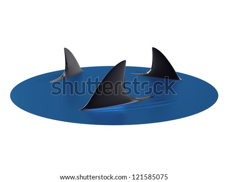 3d render of Sharks Circling - stock photo