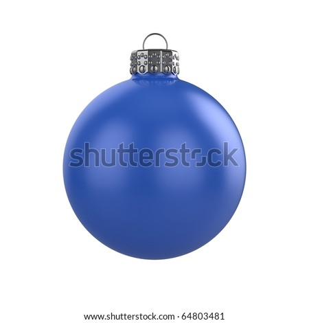 3d render of shiny blue xmas bauble on white background - stock photo