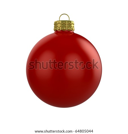 3d render of shiny red xmas bauble on white background - stock photo
