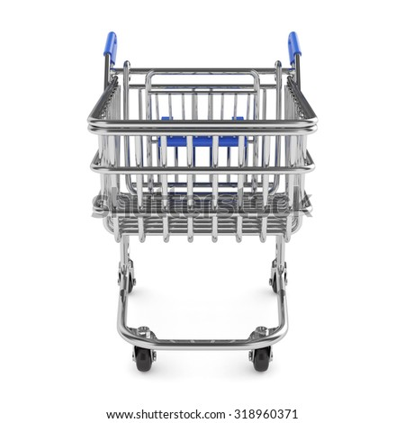 3d render of shopping cart isolated on white background - stock photo