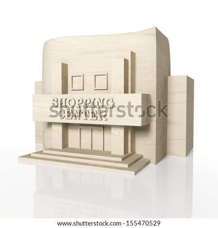 3D render of shopping center building with reflection,isolated on white - stock photo