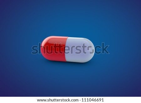 3D Render of Single Medical Capsule