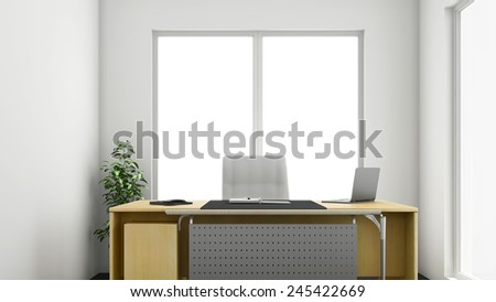 3d render of small or medium sized corner office - stock photo