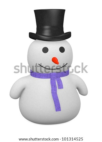 3d render of snowman character