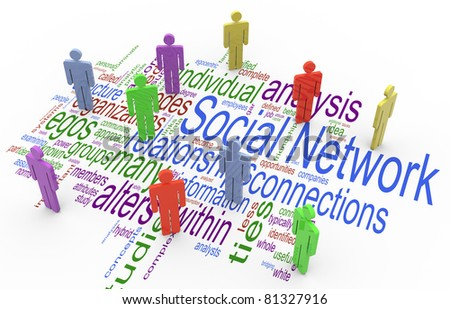 3d render of social network concept on the background of 'social network' wordcloud - stock photo