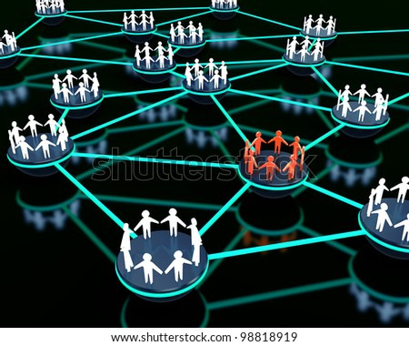 3d render of social network with group of people standing out from the crowd. - stock photo