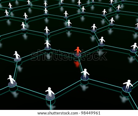 3d render of social network with one person standing out from the crowd. - stock photo