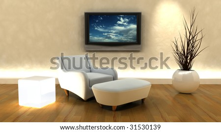 3d render of sofa and television on the wall - stock photo