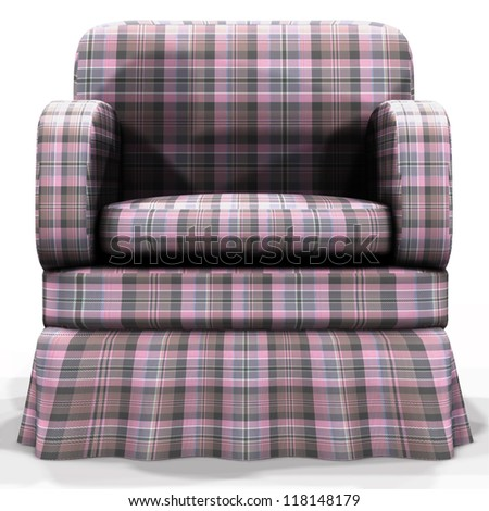 3d render of soft, comfortable armchair on white background. - stock photo