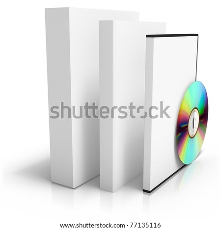 3D render of software box with book, dvd box and disc - stock photo