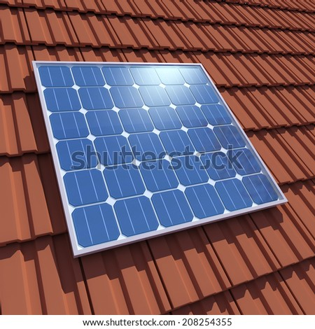 3d render of solar cell panels on tiled roof - stock photo