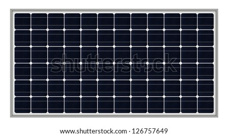 3d render of solar panels isolated over white background - stock photo