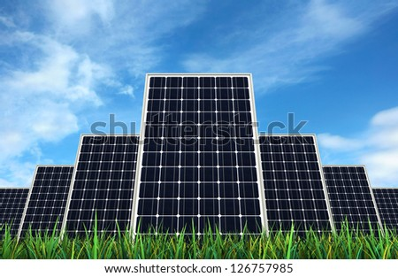 3d render of Solar panels over sky backgrond - stock photo