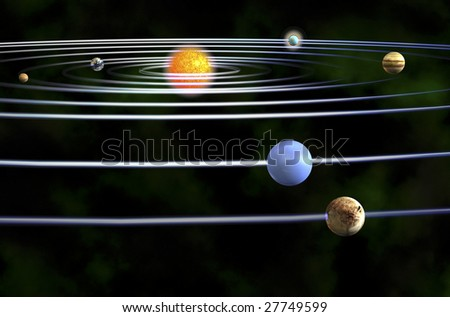 3d Render Of Solar System - stock photo