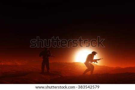 3D render of soldiers in active combat in the desert at sunset