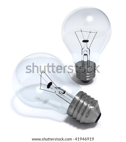 3D render of some light bulbs isolated on white - stock photo