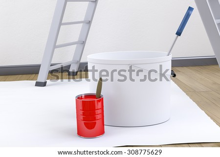 3d render of some typical redecorate utensils - stock photo