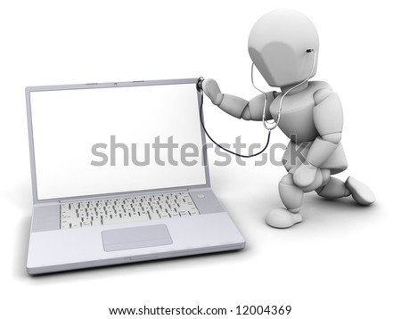 3D render of someone checking a computer - stock photo