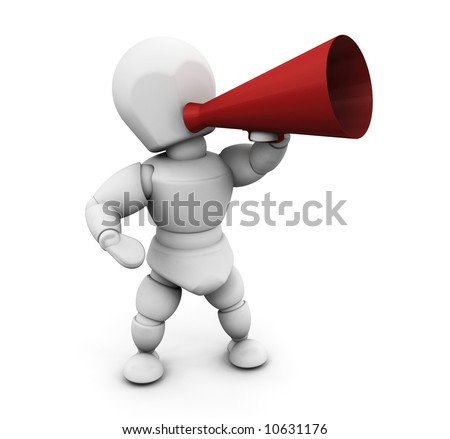 3D render of someone shouting in a megaphone