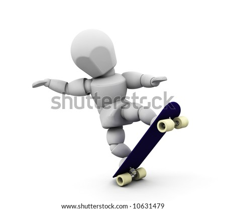 3D render of someone skateboarding