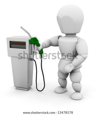 3D render of someone with a fuel pump