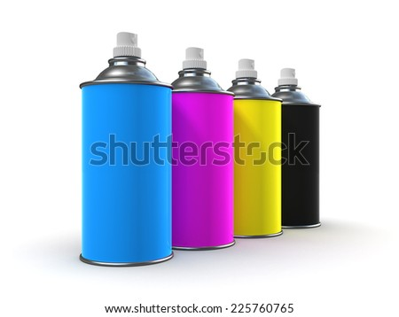 3d render of spray paint cans in cyan, magenta, yellow and black - stock photo