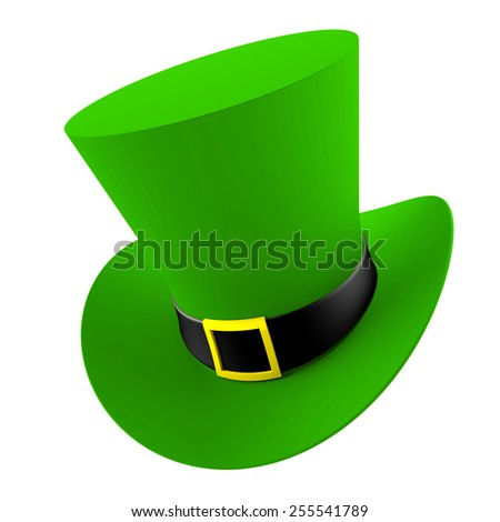 3d render of St. Patrick's hat isolated on white background - stock photo