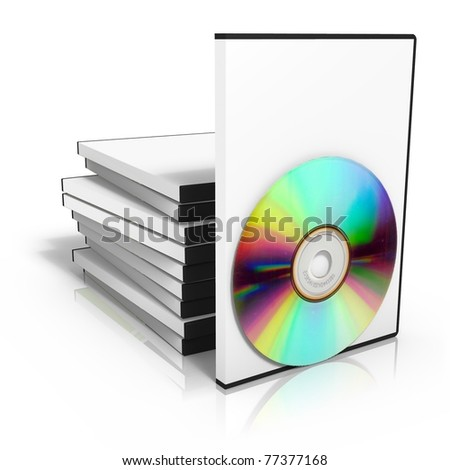 3d render of stack of dvd boxes with disc - stock photo