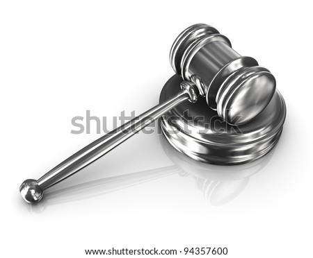 3d render of steel court room gavel - stock photo