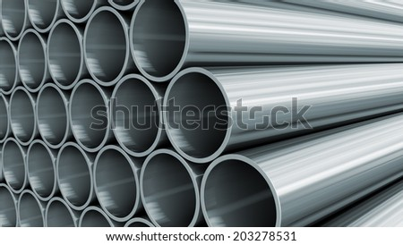 3D render of steel pipes - stock photo