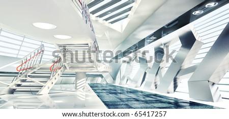 3D render of stylish interior - stock photo