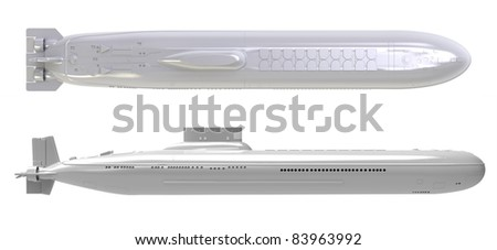 3d render of  submarine nuclear on a white background - stock photo