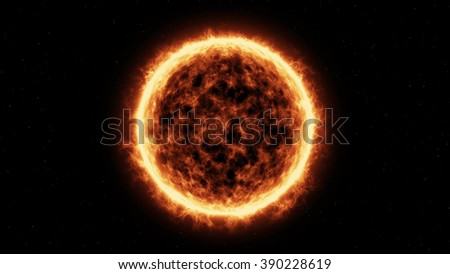 3D render of Sun Surface And Solar Flares