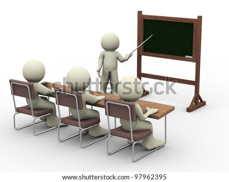 3d render of teacher with student in class room - stock photo