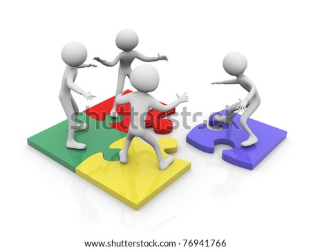 3d render of team work concept. Men working together on puzzle pieces - stock photo