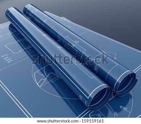 3d render of technology project blueprint - stock photo