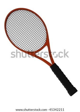3d render of tennis racket - stock photo