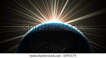 3D render of the earth with sunlight rays - stock photo