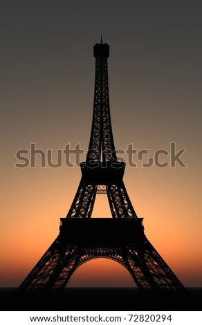 3D Render of the Eiffel Tower in Paris, France at sunset.