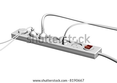 3D render of the gray electrical socket - stock photo