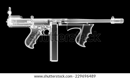 3D render of the gun model in X-rays isolated on black background - stock photo