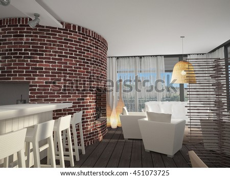 3D render of the interior of a country house