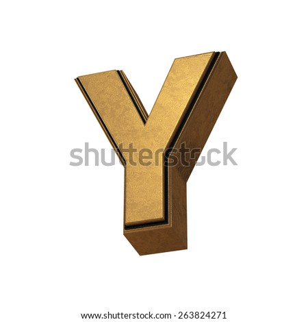 3d render of the letter Y in gold metal on a white isolated background.